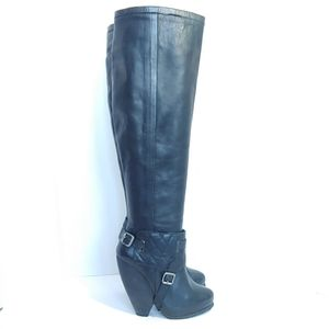 Topshop premium black tall wooden heeled boots